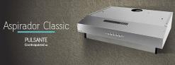 Aspirador classic 60 cm → comando pulsante 3 velocidades / Iluminación incandescente 1x25 watt / Motor 120 W / Caudal 250 m3/h / Acero Inoxidable