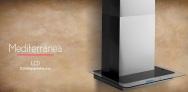 Mediterranea LCD Contrapared 60 - 75 - 90 cm → Comando LCD 3 velocidades + Timer + Reloj / Iluminación Spot LED Mod 60 y 75 → 1x2 w / Mod. 90 cm 2x2 w / Caudal 800 m3/h / Acero Inoxidable